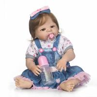 New 22 Full Silicone Bebe Reborn Baby Girl Princess Dolls Lifelike Newborn Babies Alive Doll For