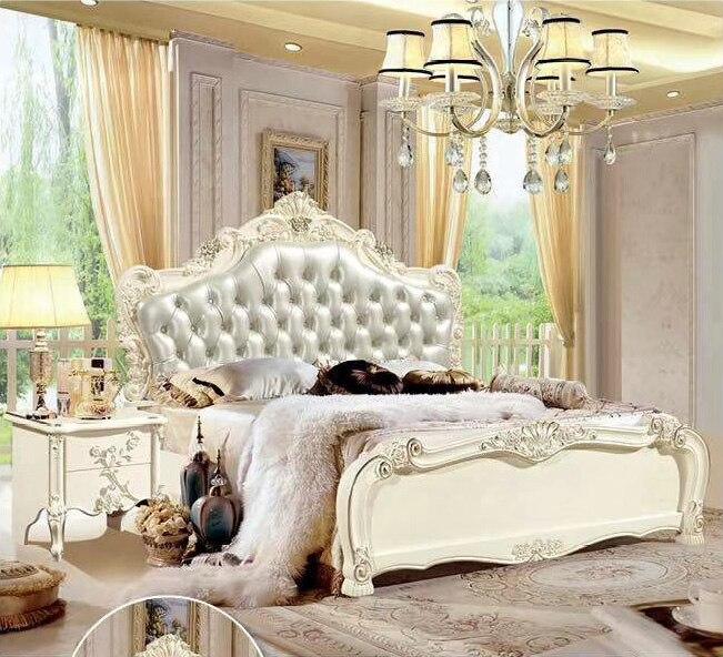 Moderne européen en bois massif lit mode sculpté 1.8 m lit français chambre meubles DCXC915