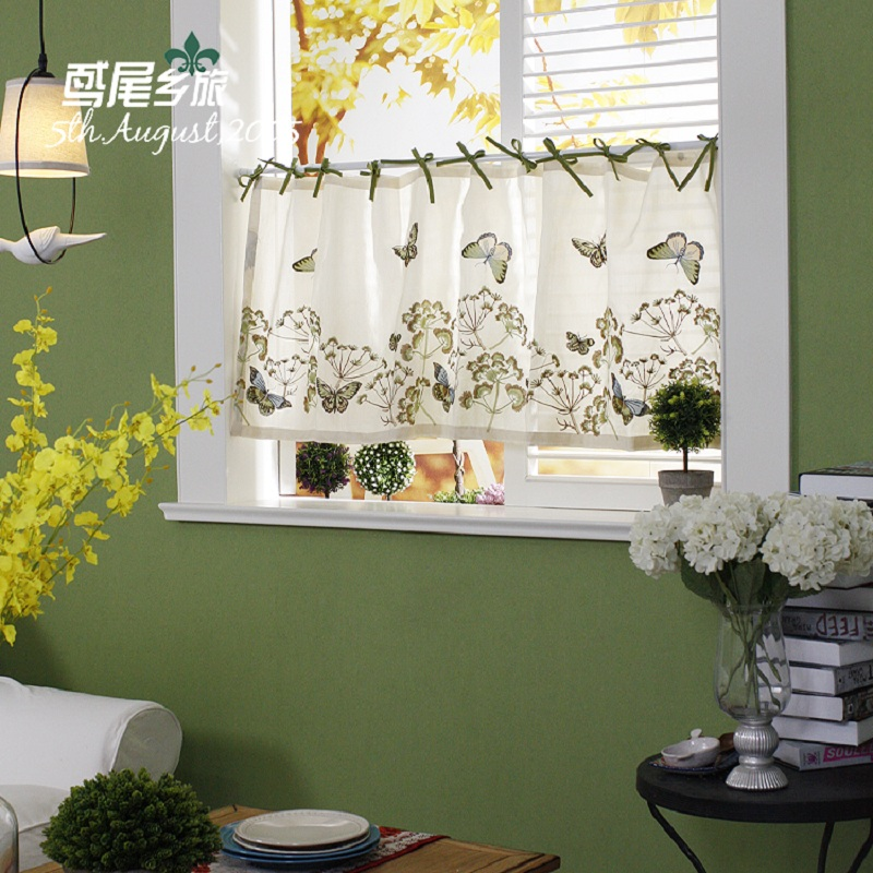 Free Shipping Butterfly Flowers Embroidered Beautiful Coffee Curtain Short Kitchen Curtains For