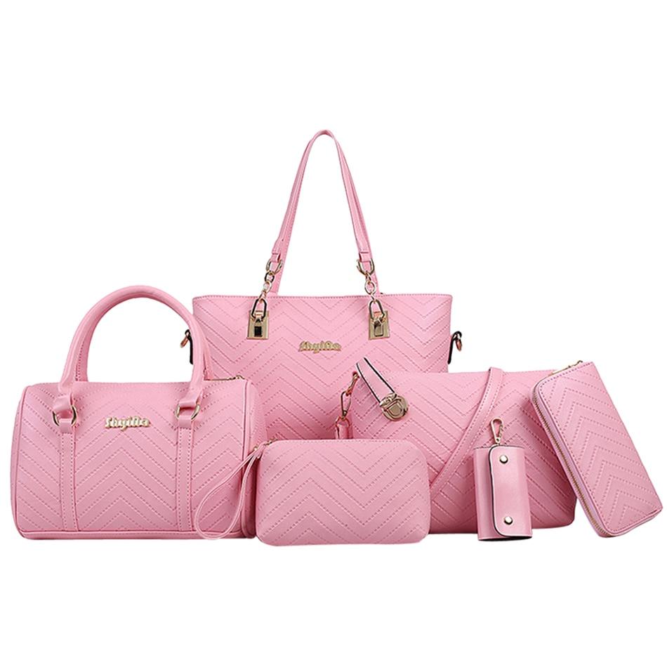 2018 Brand Luxury Women Stripe Handbag 6 Pcs Composite Bag Set Female Shoulder Crossbody Messenger Bag Lady Purse Clutch Wallet coofit luxury composite bag set women