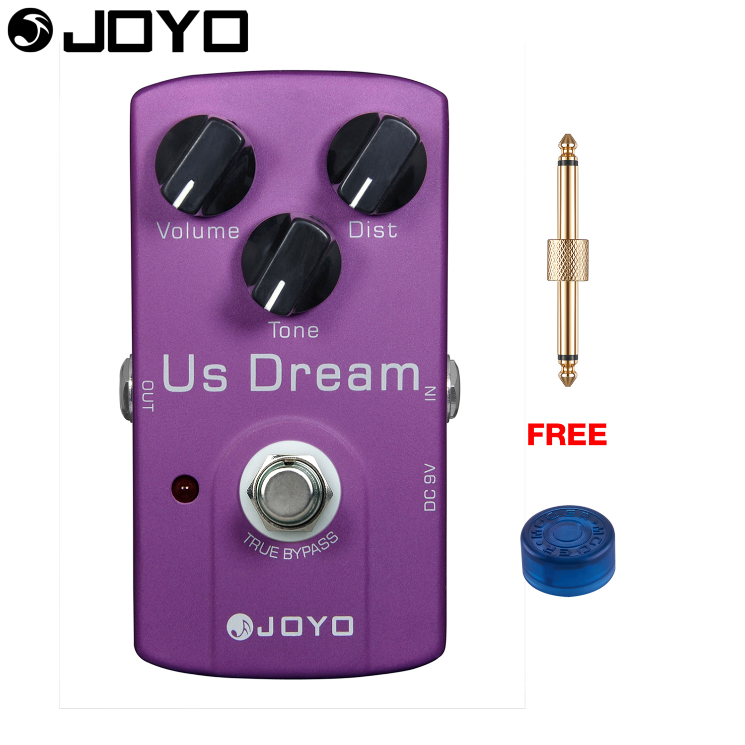 JOYO US Dream Distortion Electric Guitar Effect Pedal True Bypass JF-34 with Free Connector and Footswitch Topper aroma adr 3 dumbler amp simulator guitar effect pedal mini single pedals with true bypass aluminium alloy guitar accessories