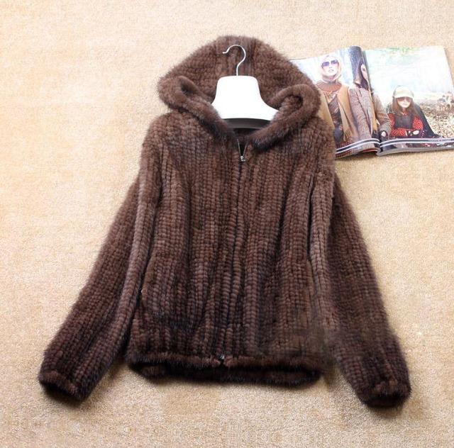 Envío gratis Naturalgenuine tejida verdadera piel de visón abrigo de invierno mujer de manga larga de la parte superior del todo fósforo de punto 5XL