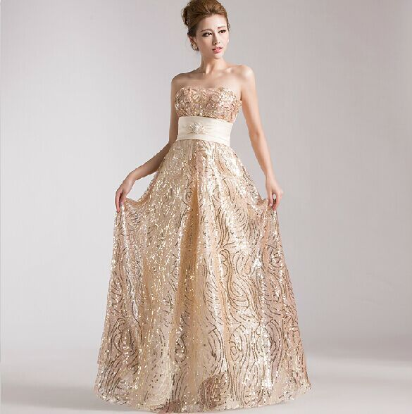 Gold sequin bridesmaid dress long bead off shoulder with for Metallic bridesmaid dresses wedding