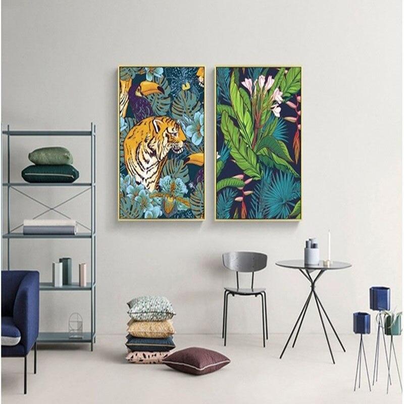 Nordic-Decorativo-Pintura-DA-Fantasia-Floresta-Que-Multicolor-Noiva-Cantar-Flamingos-em-P-sobre-as-plantas (2)