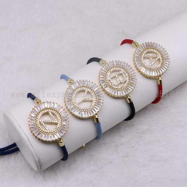 5 Pcs Mix Colors Letter Bracelets Pave White Crystal Bracelet Nylon With Beads Crafted