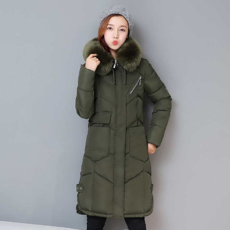 2017 New Women Long Winter Jacket Plus Size Warm Cotton Coat Pure Color Hooded Fur Collar Female Parkas Wadded Outerwear 2017 new women long winter zipper jacket warm cotton coat pure color hooded fur collar female thick parkas wadded outerwear 3xl