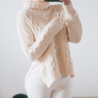 Turtleneck Knitted Pullover Sweater Women Long Sleeve Soft Jumper Pull Femme Autumn Winter 2017 Warm Loose