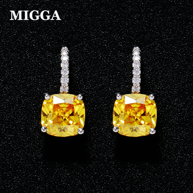 MIGGA High Quality Square Yellow Cubic Zirconia Crystal Earrings Silver Color Fashion Women Stud Earrings Jewelry