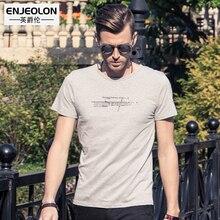 Enjeolon brand 2017 short sleeve print t shirt men, cotton clothing base printing fit black fashion casual men t-shirts T1508