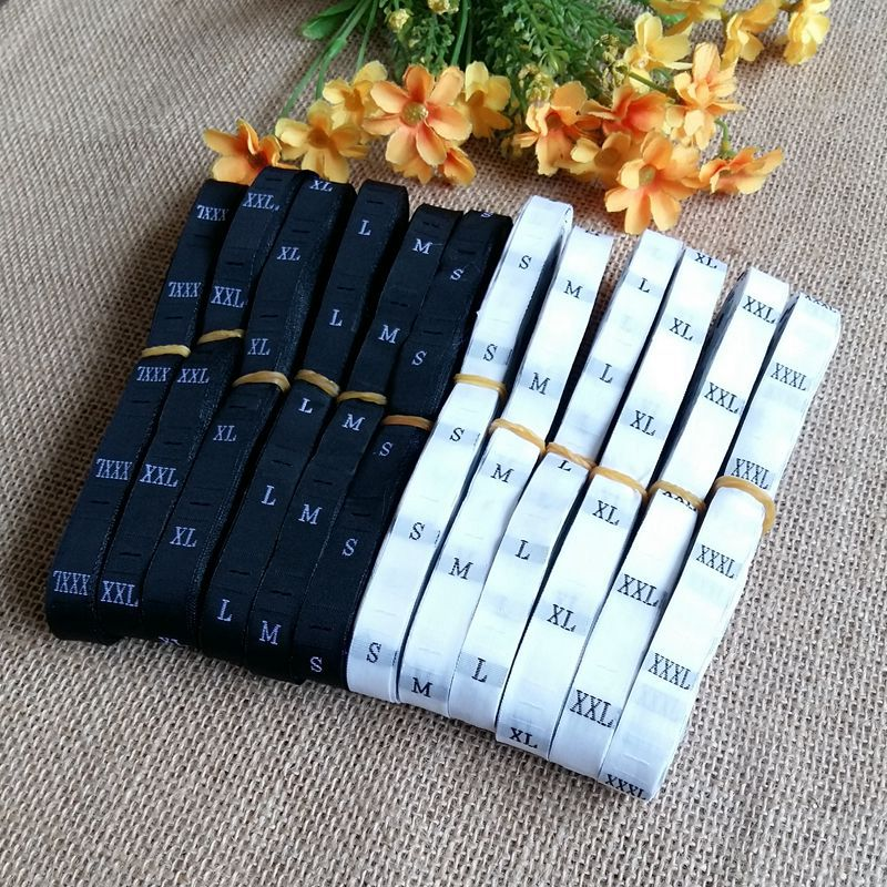 1Volume (500pcs) Black / white size number labels for clothing sewing woven Size tags garment label clothes