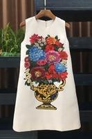 Высокое качество 2018 Дизайнер взлетно посадочной полосы платье осень Для женщин белый Винтаж ваза печати алмаз Бисер онлайн Свободные плать