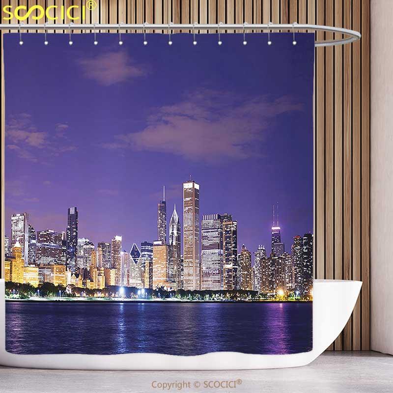 Fun Shower Curtain Apartment Decor Collection Chicago Evening View Estate Exterior Famous Touristic Place Luxury Lifestyle