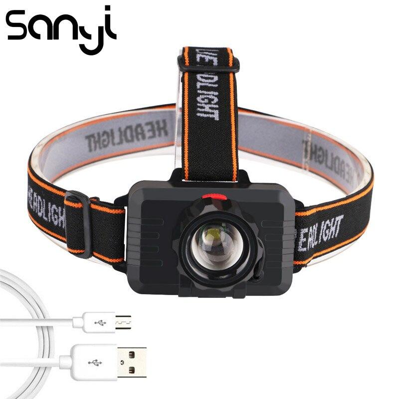 SANYI T6 USB Aufladbare Eingebaute Batterie Kopf Lampe ZOOM Scheinwerfer Super Helle Scheinwerfer Taschenlampe Camping LED Taschenlampe Stirn