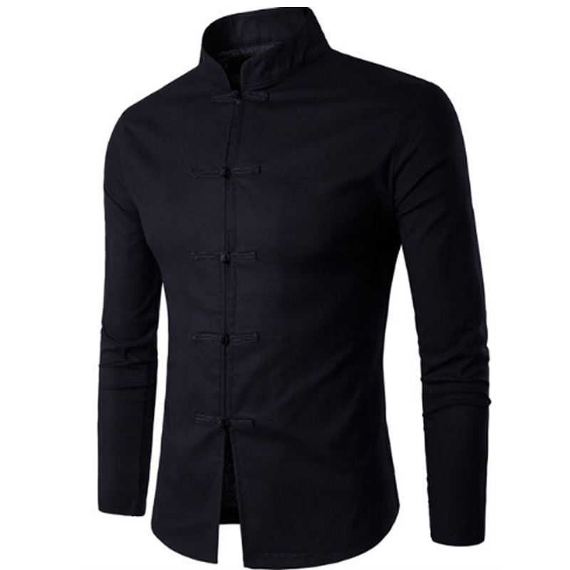 Brand 2016 Fashion Male Shirt Long-Sleeves Tops Chinese wind Tang suit collar elastic hemp Mens Dress Shirts Slim Men Shirt 2XL