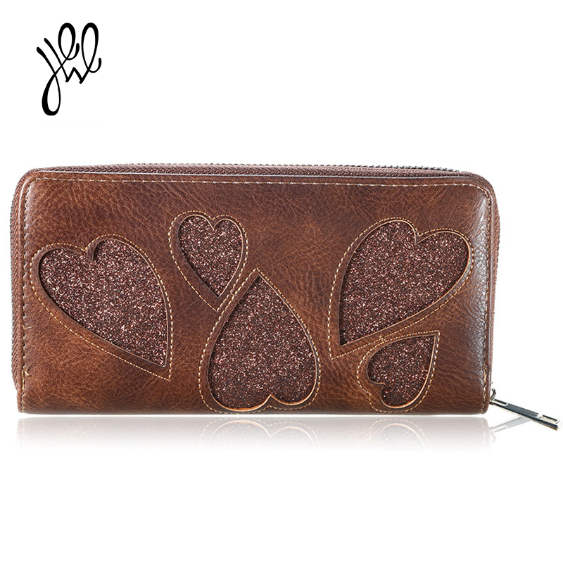Long Women Wallet Brand Design Luxury PU Leather Clutch Wallets Money Bag Large Dollar Handbag Phone Purse Bling Heart 500585