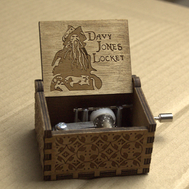 Gifts Moive Pirates of the Caribbean Davy jones Locket Theme Handmade Engraved Wooden Music Box Crafts Cosplay