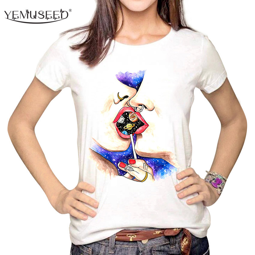 Vintage Spring Summer T Shirt Women Clothing Tops Figure Novel Print T-shirt Printed White Woman Clothe WMT301
