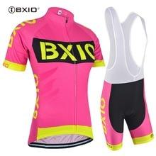 BXIO Новая женская велосипедная одежда Розовый цвет Велоспорт Джерси Набор Uniforme Roupa Ciclismo De Франция велосипед Джерси мейло Cyclisme 147