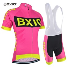 BXIO New Women Cycling Sets Pink Color Cycling Jersey Set Uniforme Roupa Ciclismo De France Bike Jersey Maillot Cyclisme 147
