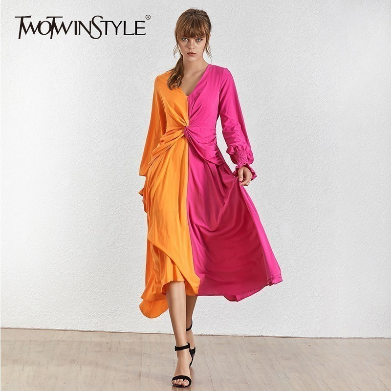 TWOTWINSTYLE Spring Hit Color Women Dress V Neck Lantern Sleeve High Waist Slim Ankle Length Dresses