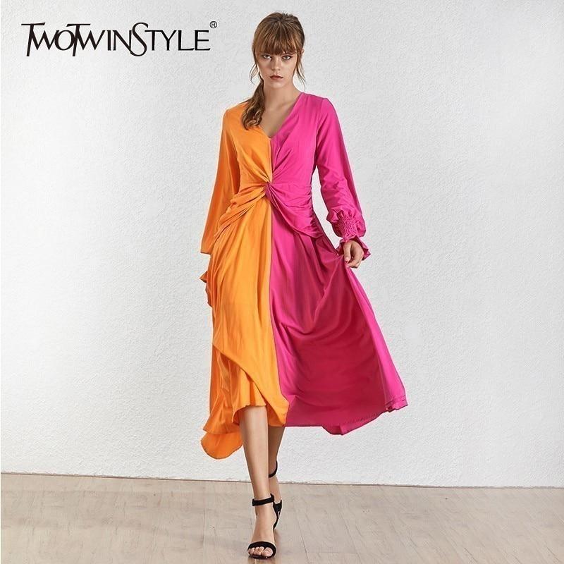 TWOTWINSTYLE Spring Hit Color Women Dress V Neck Lantern Sleeve High Waist Slim Ankle Length Dresses Female Fashion 2020 New