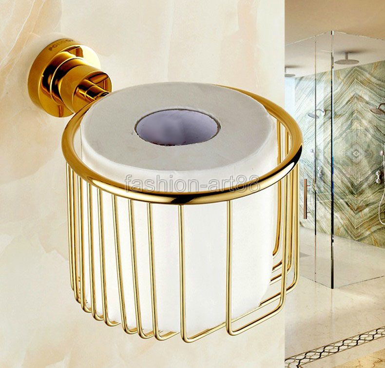 ФОТО Wall Mounted Golden Gold Color Brass Bathroom Toilet Paper Roll Holder Tissue Basket Holder Bathroom Accessory aba624