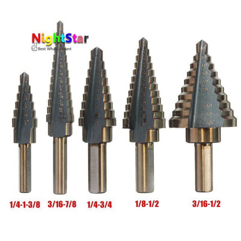 High Quality 5pcs/Set HSS COBALT MULTIPLE HOLE 50 Sizes STEP DRILL BIT SET 1pca arrival high quality 5pcs   set hss
