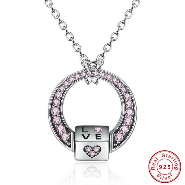 2017 new 925 sterling silver pink cz love heart pendants necklaces 2017 new 925 sterling silver pink cz love heart pendants necklaces for women valentines gift multifunctional mozeypictures Images