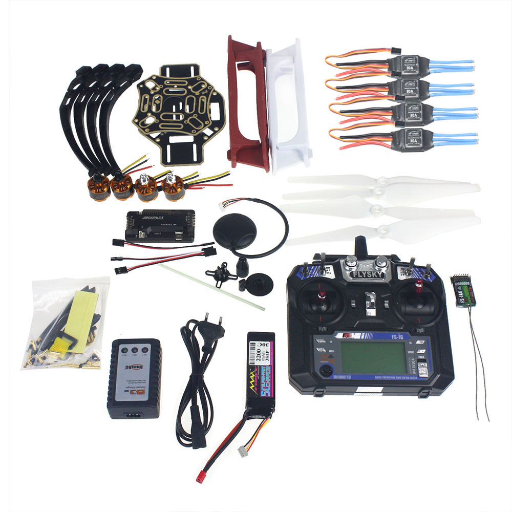 Kit complet RC Drone Quadrocopter 4-essieu Avions Kit F450-V2 Cadre GPS APM2.8 Vol Contrôle Flysky FS-i6 Émetteur F02192-Y