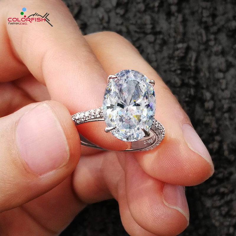 COLORFISH Mewah 5 Carat Oval Cut Solitaire Engagement Ring 925 Sterling Silver Cincin Untuk Wanita Big Stone Female Wedding Bands