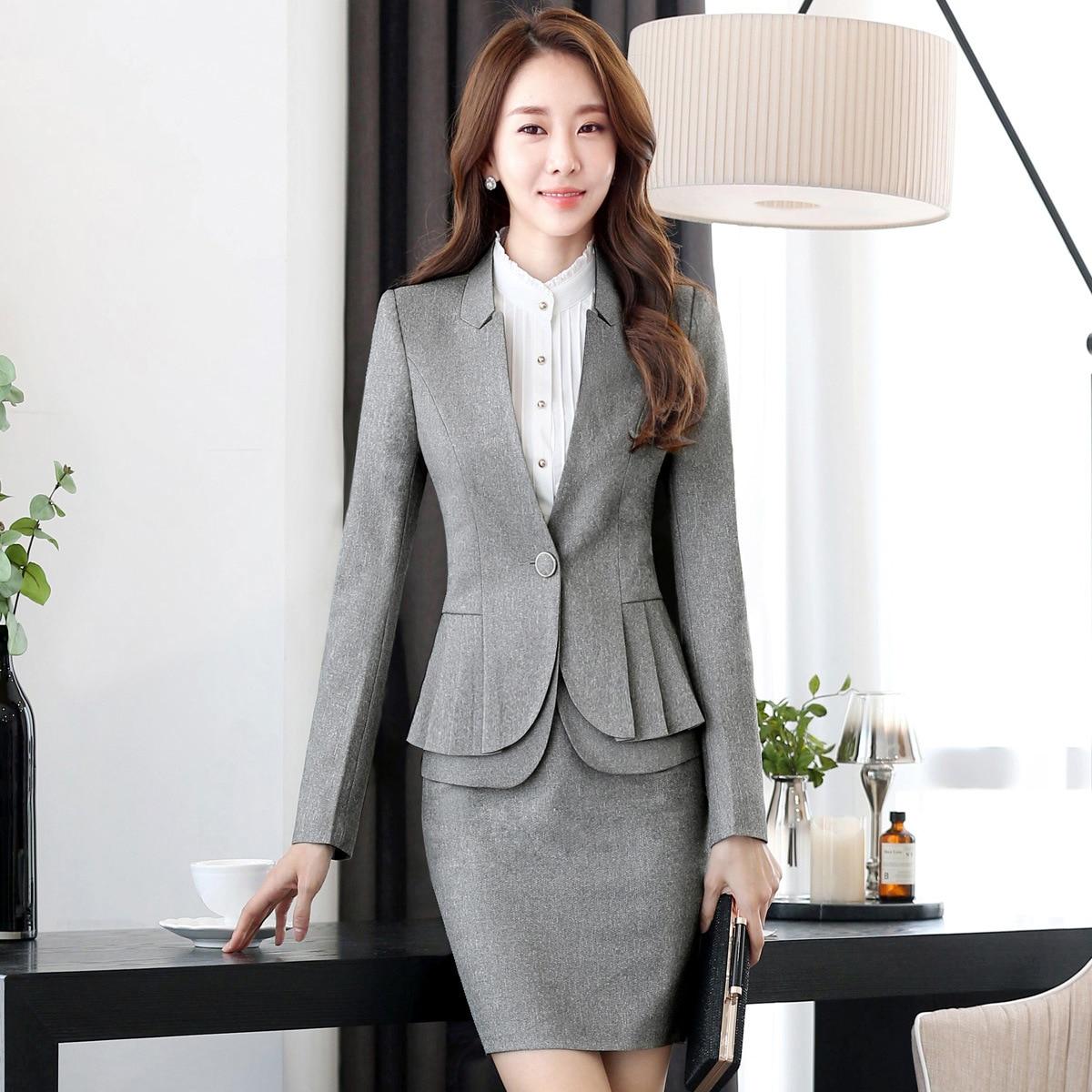 Professional Women Skirt Suits Blazers Autumn Business Ladies Office Work Wear White collar (jacket/Skirt /shirt / pants)