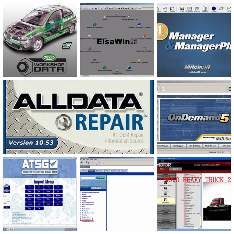 Prix pour 2016 alldata et mitchell logiciel logiciel de réparation automobile v10.53 alldata + mitchell 2015 + ELSA 5.2 + LPGA + Vivid atelier