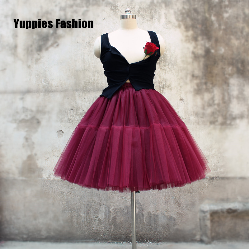 dec0039e09 Pink Tutu Tulle Skirts Women 4 Layers Fashion Midi Skirt New Fashion falda  tul mujer Princess ...