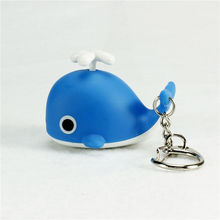 wholesale sound light key chains flashlights sound rings toys cute whale led keychains Creative birthday child gift pendant
