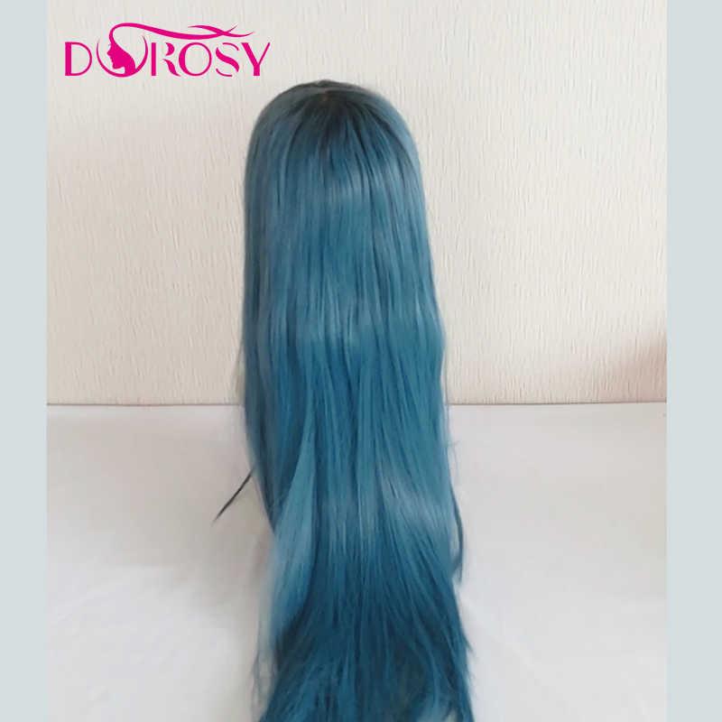 Dorosy Rambut Kerapatan 250% 13*6 Renda Sintetis Depan Wig Biru 2730 Warna Serat Rambut Lace Wig dengan -Dipetik Rambut