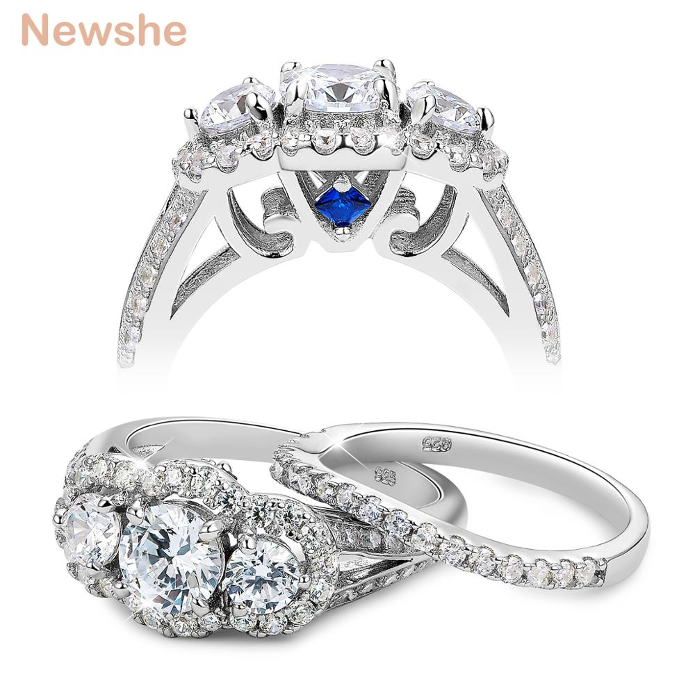 Newshe 2 Carats Wedding Ring Sets 3 Stones AAA Zirconia Trendy Jewelry 925 Sterling Silver Engagement Rings For WomenNewshe 2 Carats Wedding Ring Sets 3 Stones AAA Zirconia Trendy Jewelry 925 Sterling Silver Engagement Rings For Women