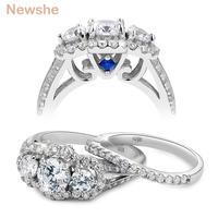 Newshe 2 Carats Wedding Ring Sets 3 Stones AAA Zirconia Trendy Jewelry 925 Sterling Silver Engagement Rings For Women