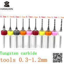 Tungsten carbide tools, PCB drill bits 0.3mm-1.2mm, 10PCS cemented carbide woodworking bit, CNC router, printed circuit board