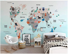 beibehang Customized childrens room decoration mural personality silk cloth 3d wallpaper world map papel de parede wall paper
