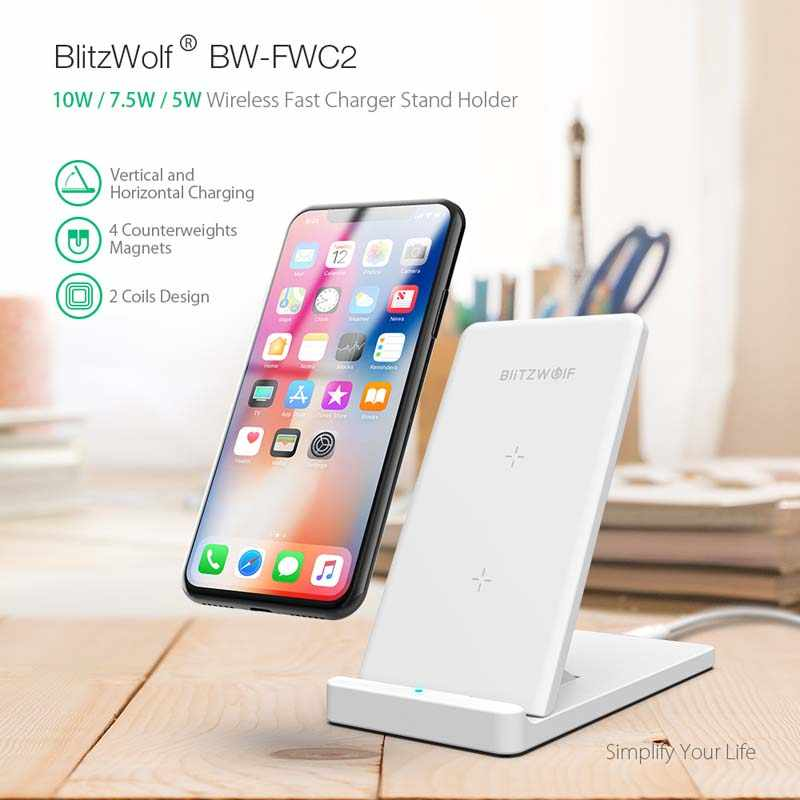 BlitzWolf 10 واط تشى اللاسلكية شاحن آيفون X 8 غالاكسي S9 S8 S7 S6 حافة نوت 8 الهاتف سريع لوحة شحن لاسلكي محطة الإرساء