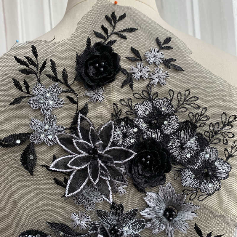 2019 3d appliqued coloured embroidery patches Black, blue! HOT on Ali express beading lace patch, sequins lace black nice!