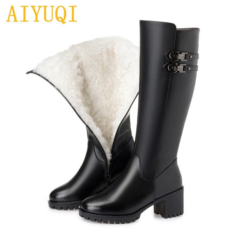 AIYUQI Female boots 2019 genuine leather women winter boots big size B27 british style classic women