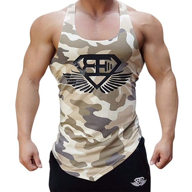 2017 Fitness Bape Men Camouflage Tank Top Tights Compression Army Camo Vest  Summer Fast Dry Bodybuilding