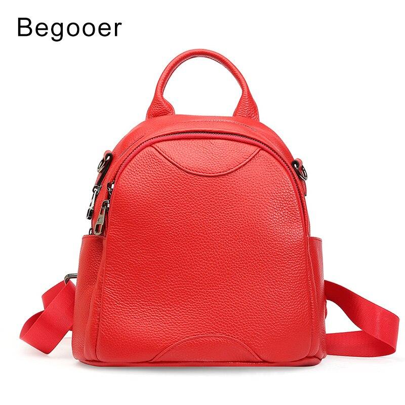 Begooer femmes en cuir véritable Mini sac à dos femme adolescentes école sacs à dos petit Mochila solide sac à bandoulière sac de jour