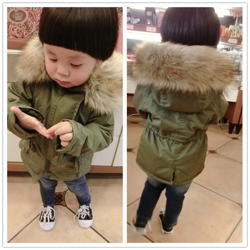 Winter Jacket Baby Boy Girl Warm Coat Children Cotton Clothes Kids Parka Thicken Fleece Fur Hooded Outerwear 1 2 3 4 5 Years