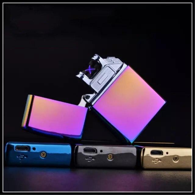 5pcs Electronic Cigarette lighter Windproof Cigar Cigarette Lighter ultra-thin USB Flameless Electric Arc LIGHTER encendedor