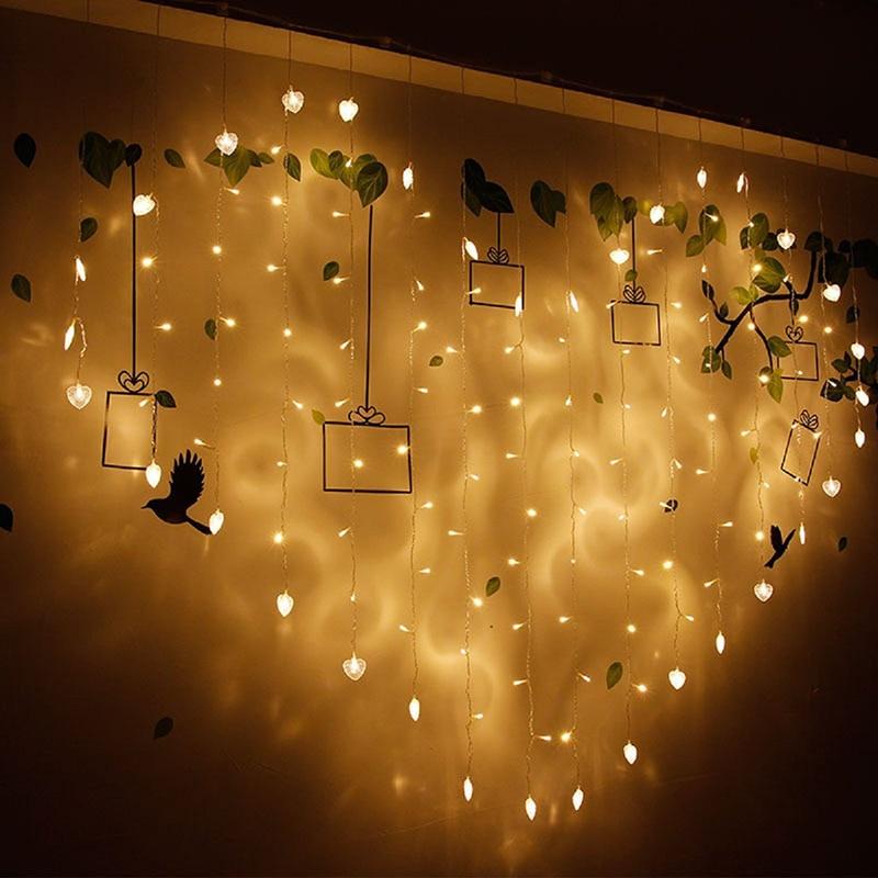 2x1.5m 128leds Heart Shape LED String Light EU 220V Holiday Christmas Wedding Party Decoration Led Icicle Curtain Lamp Light