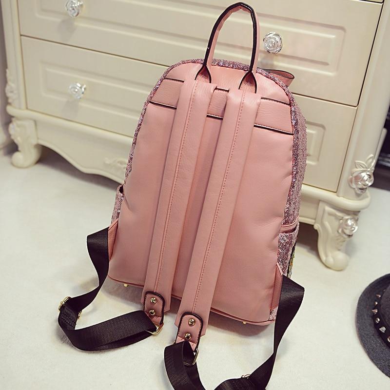 Female star with a backpack bags 2019 spring backpack bag bag Korean tide Sequin sequins 9