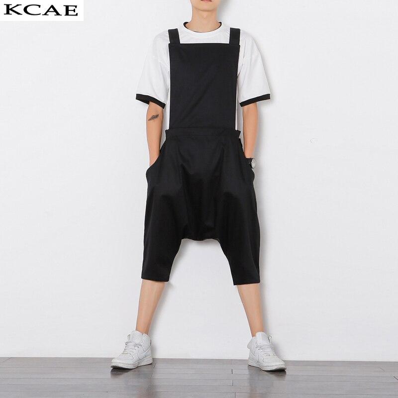 ФОТО Plus Size M-XL Mens Jumpsuit Fashion Male Bib Pants Overalls Casual Loose Harem Pants Hip-Hop Low Crotch Trousers Black Jumpsuit