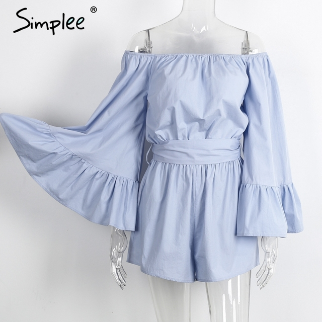 Simplee Sexy off shoulder flare sleeve jumpsuit romper Elegant bow ruffle women overalls Causal blue summer beach playsuit